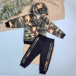 Кофта с капюшоном+штаны с лампасами на манжете (кулирка)